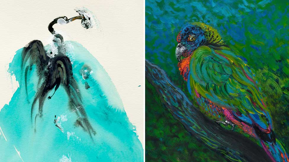 Cormorant and St Lucia parrot by Maggi Hambling