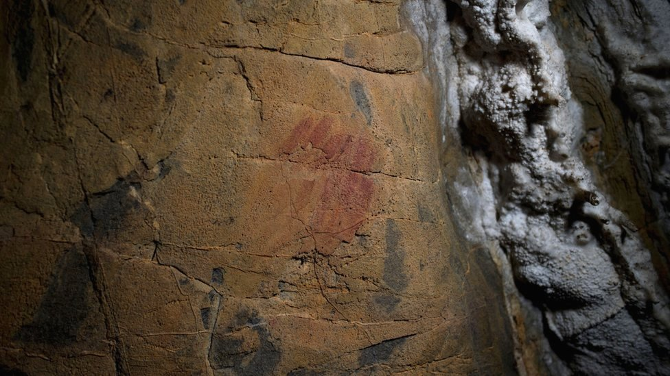 Picture said to show Neanderthal cave-paintings inside the Andalusian cave of Ardales in Spain