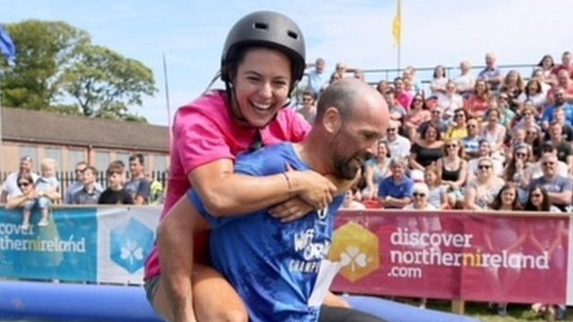 Wife-carrying race is hit at Dalriada Festival