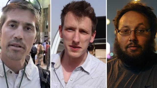 Composite image of the three US hostages -(from left) James Foley, Abdul-Rahman Kassig and Steven Sotloff