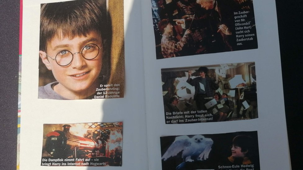 The vendor's children also stuck some pictures from the first film in the book