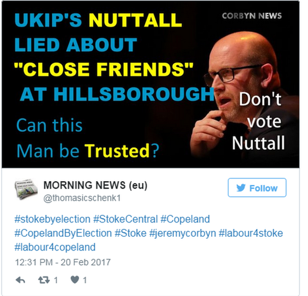 "Tweeted image: ""UKIP's Nuttall lied about 'close friends' at Hillsborough, can this man be trusted"""