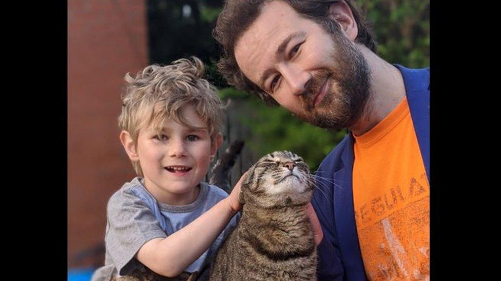 Oisín, Robert and the family cat
