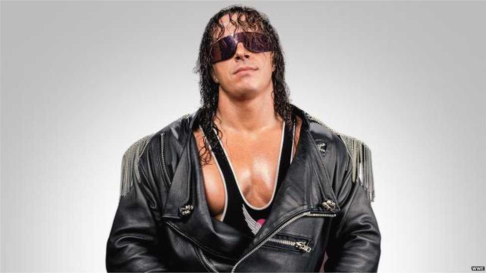 Bret Hart looking directly at the camera in a phootshoot