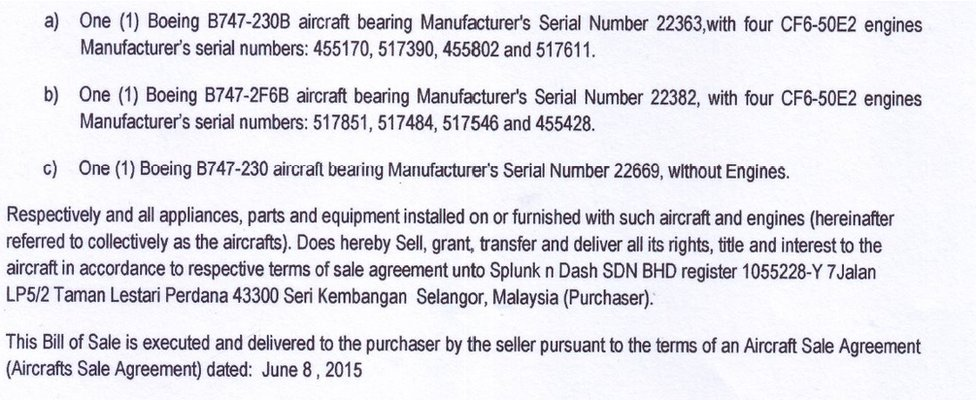 Excerpt of bill of sale of Boeing 747 jets to Swift Air Cargo