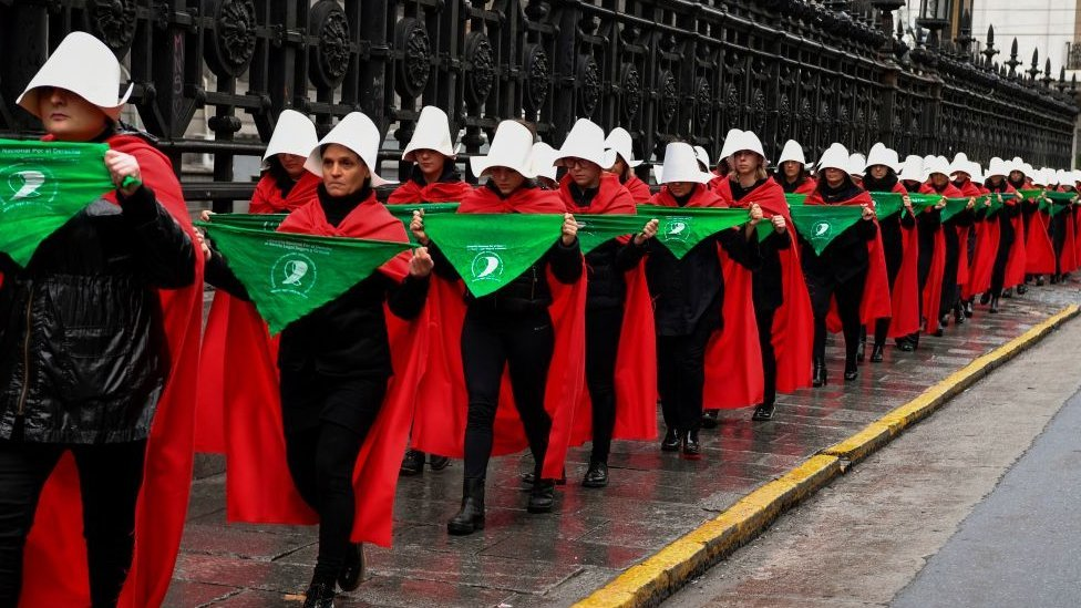 women in favour of the legalization of abortion marched as characters from Margaret Atwood's feminist dystopian novel 'The Handmaid's Tale'