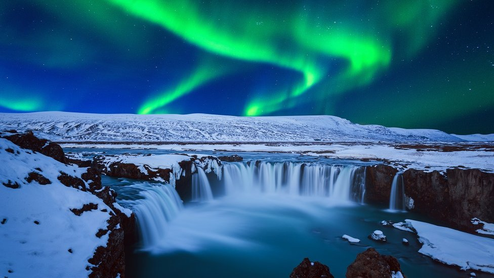 Northern lights over an Icelandic glacier