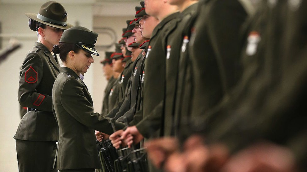 Lieutenant Colonel Gabrielle Hermes (second from Left), inspects Female Marine recruits under her command at MCRD Parris Island, South Carolina.