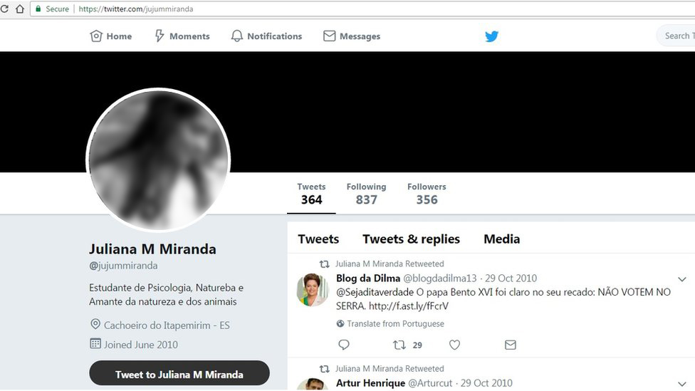 """The Twitter profile of """"Juliana M Miranda"""". The profile picture was taken from a blogger in Finland"""