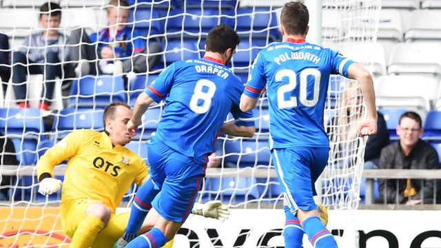 Ross Draper wins a penalty for Inverness