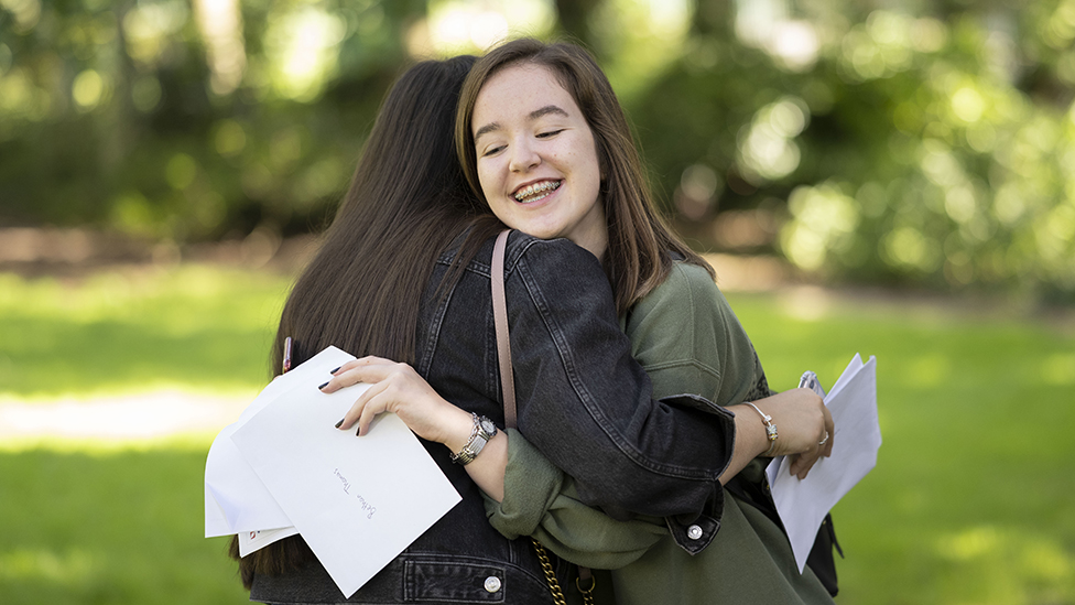 Two GCSE students celebrate their results