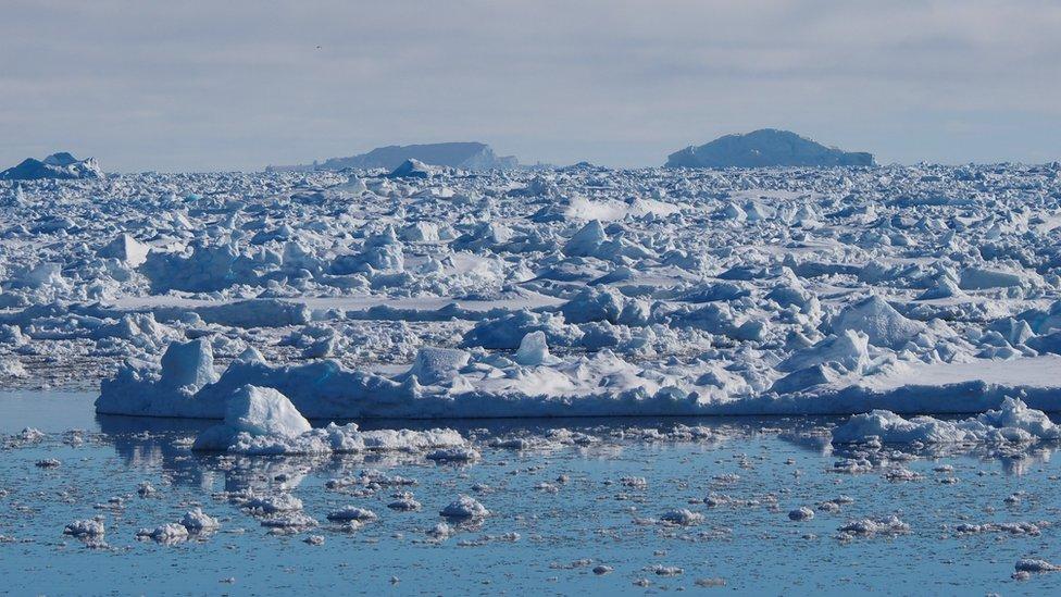 Témpanos de hielo en la Antártico.