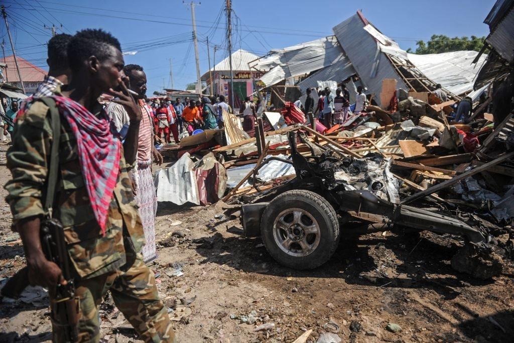 انفجار سيارة مفخخة في سوق مزدحمة في العاصمة مقديشو بالصومال في 26 نوفمبر/تشرين الثاني 2018.