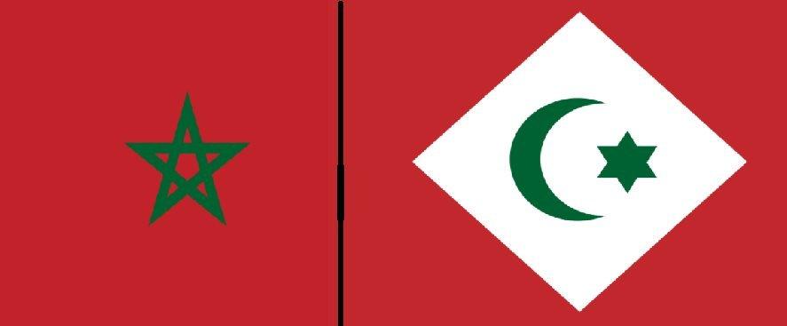 """علم """"جمهورية الريف"""" يمين وعلم المغربي العربي في اليسار."""