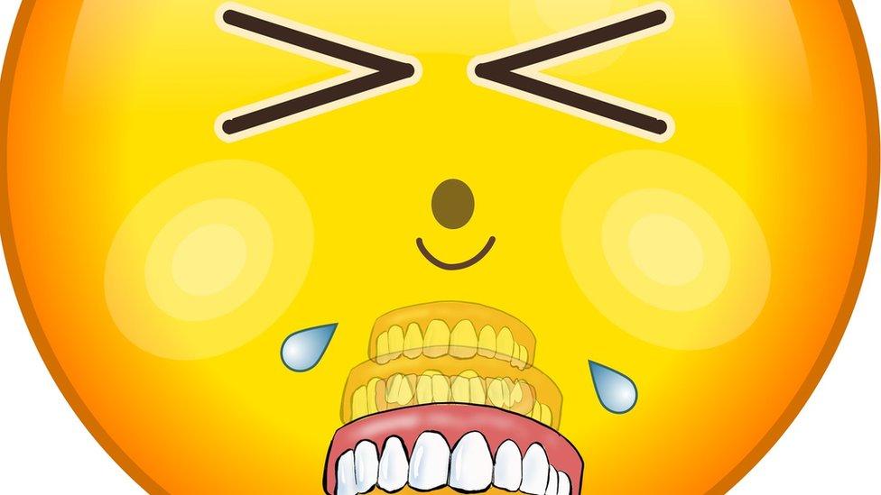 'False teeth falling out'