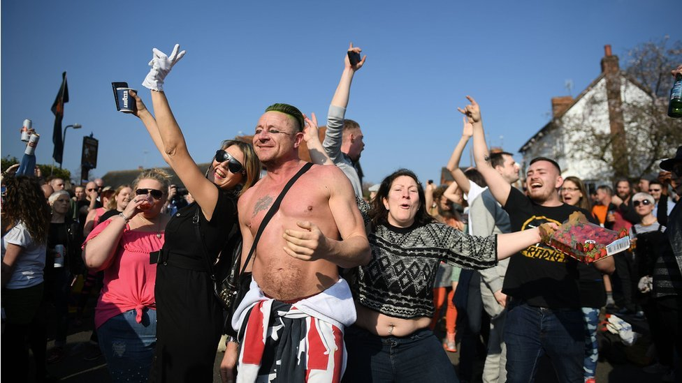 Fans dancing at Keith Flint's funeral