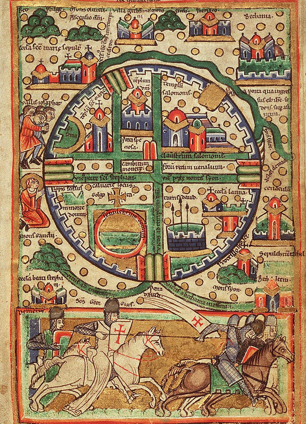 Mapa del Reino de Jerusalén del siglo XII.