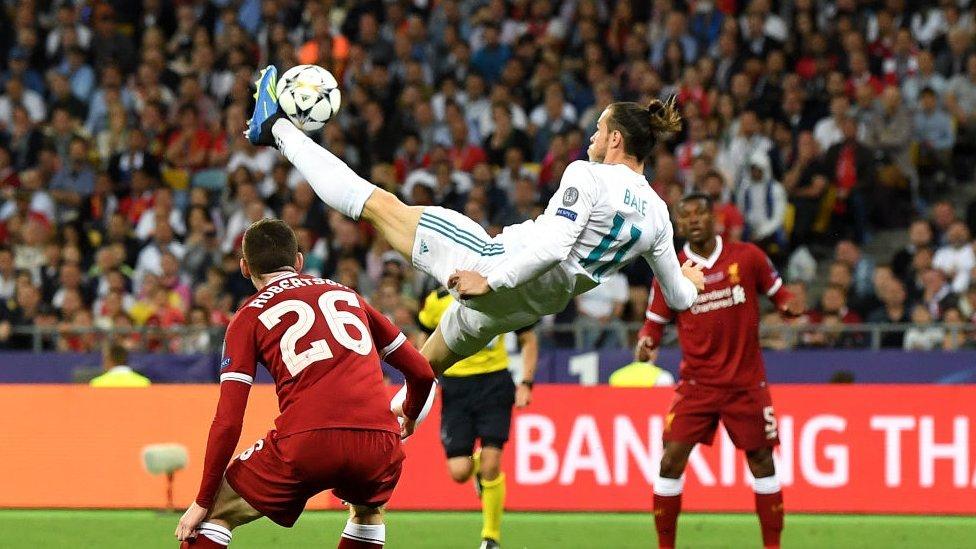 Gol de chilena (o chalaca) de Gareth Bale durante la final de la Champions League entre el Real Madrid y el Liverpool.