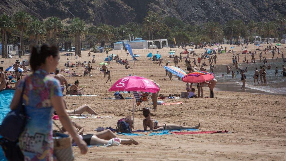 People on a Canary Islands beach