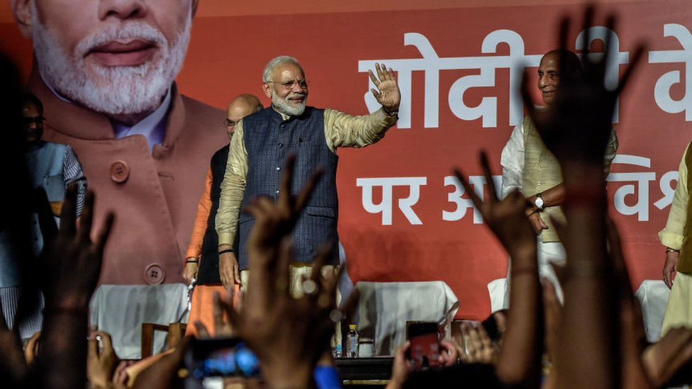 Narendra Modi speaks to the victorious party workers at the BJP party head quarters in New Delhi, India after winning the election on 23 May