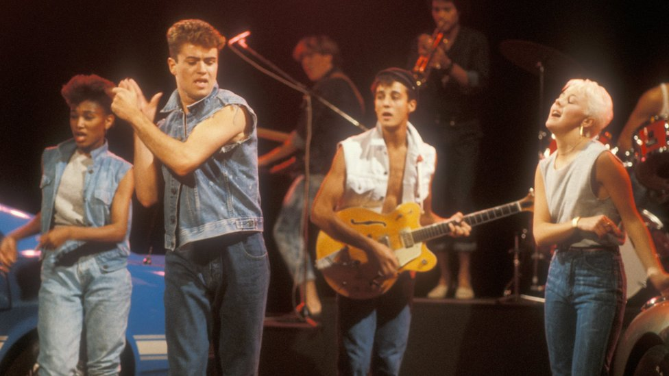 Wham on Saturday Superstore in the 1980s