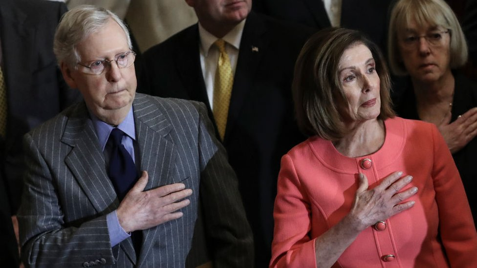 Nancy Pelosi and Mitch McConnell's homes vandalised thumbnail