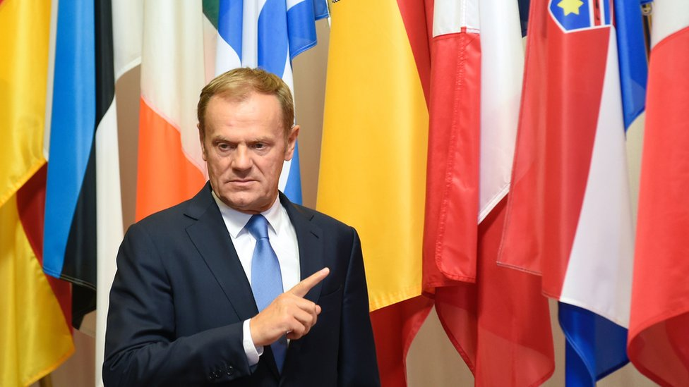 EU Council President Donald Tusk gestures as he arrives for a meeting with Slovak Prime Minister Robert Fico at the EU headquarters in Brussels on 1 June 2016.