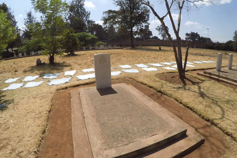 Kairokor cemetery in Nairobi where cow hides surround the memorial.