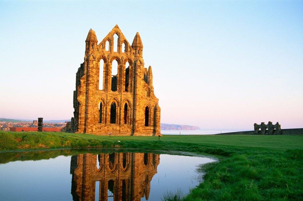 Whitby Abbey as reflected in water