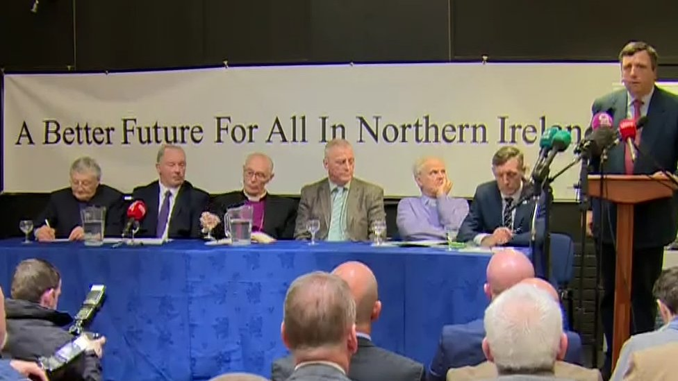 Church leaders sat alongside prominent loyalists at the news conference
