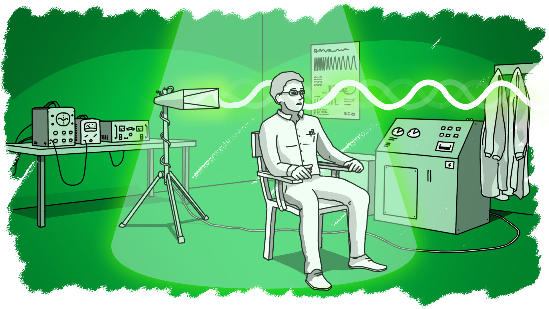Illustration of man undergoing an experiment on his brain