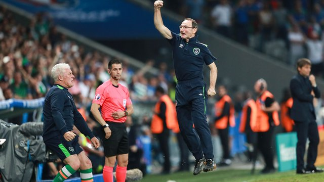 Republic boss Martin O'Neill leaps for joy at the final whistle in Lille
