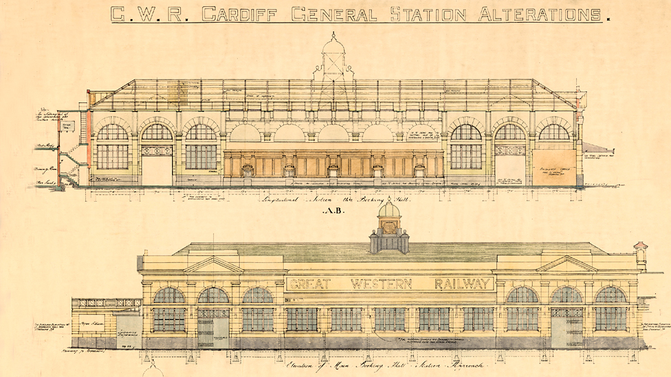 Plans for Cardiff Central station, 1930s