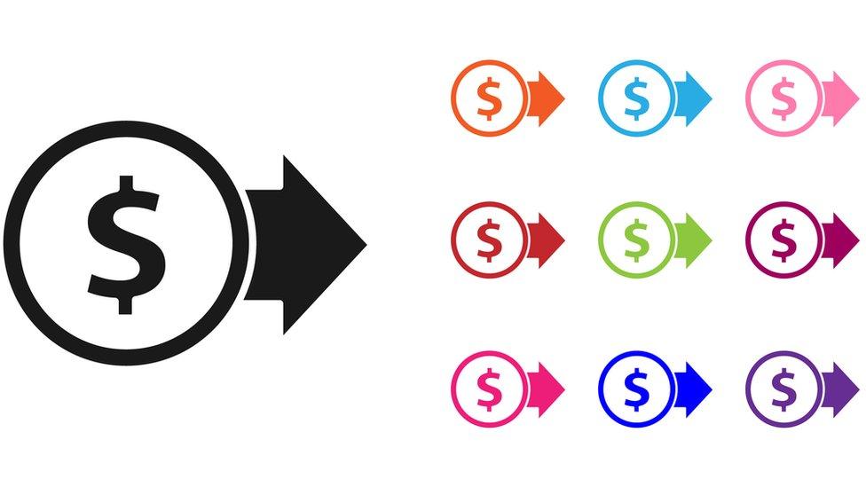 Simbolos de transferencia de dinero.