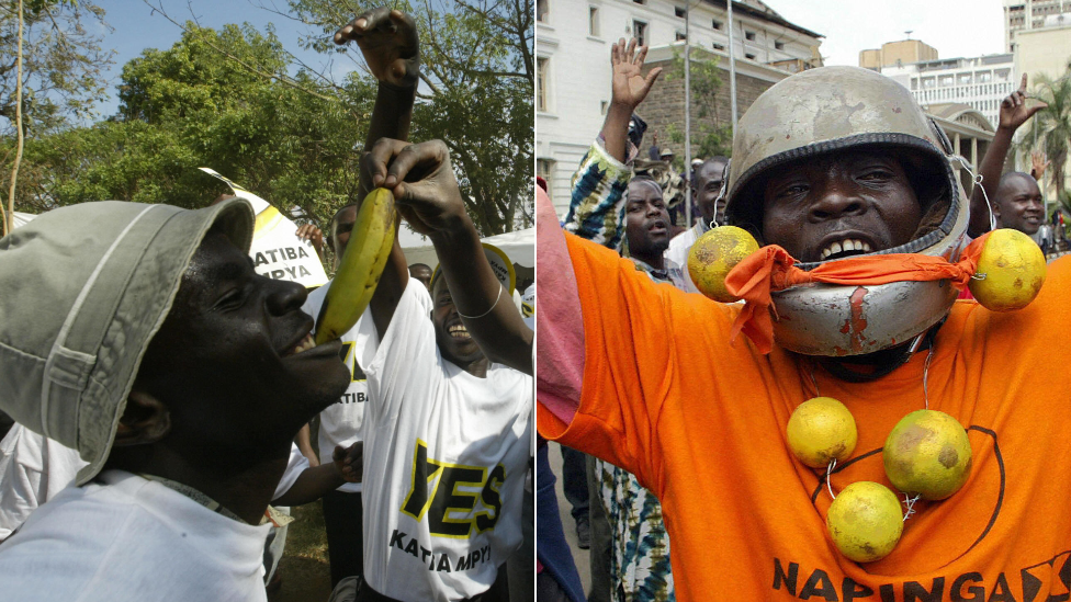 "L: A ""yes"" voter with a banana R: A ""no"" voter with oranges during campaigning ahead of Kenya's 2005 referendum on a new constitution"