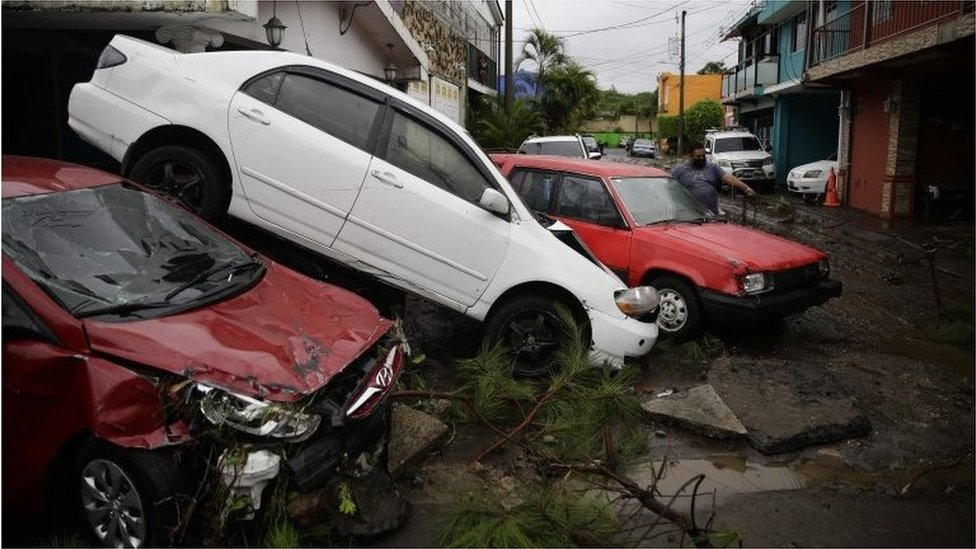 View of the damage caused by tropical storm Amanda, in San Salvador, El Salvador, 31 May 2020.
