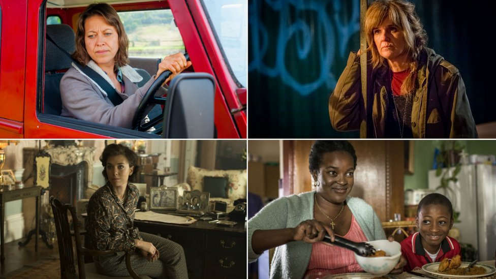 Clockwise from top left: Nicola Walker in Last Tango in Halifax; Siobhan Finneran in Happy Valley; Vanessa Kirby in The Crown, Wunmi Mosaku with Sammy Kamara in Damilola, Our Loved Boy