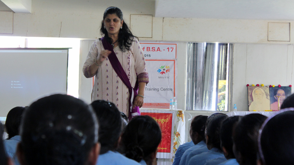 Swati Bedekar giving a menstrual awareness talk
