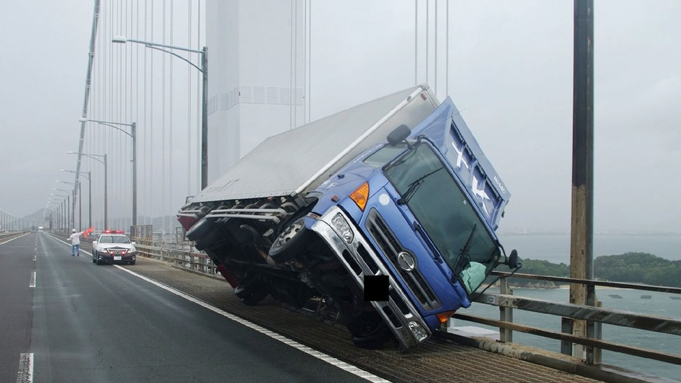 Truck blown over on the Seto Ohashi bridge in Sakade