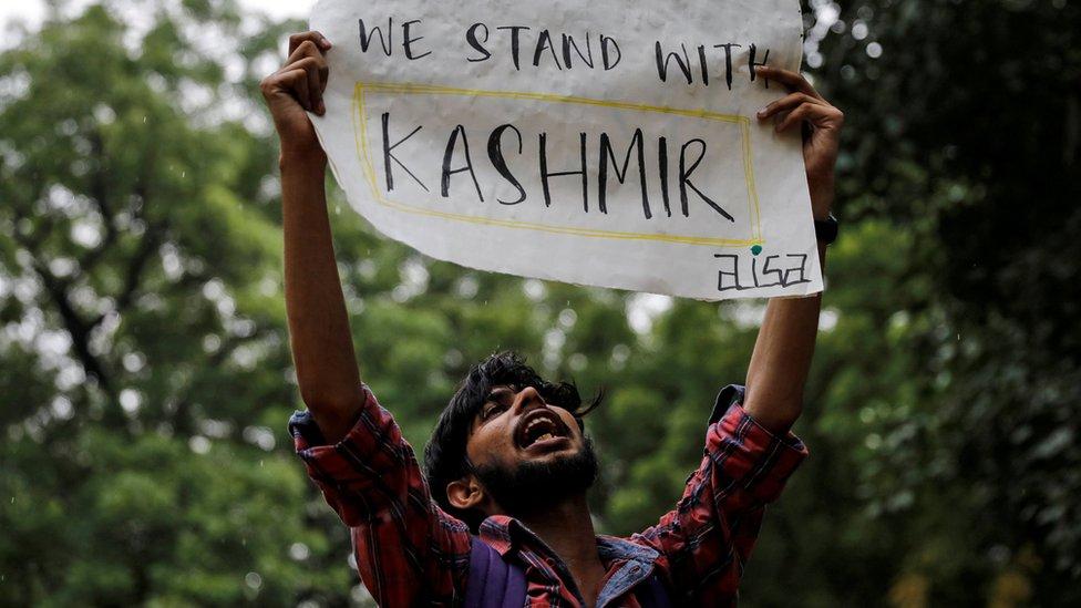 """متظاهر يحمل لافتة مكتوب عليها """"نقف مع كشمير"""""""
