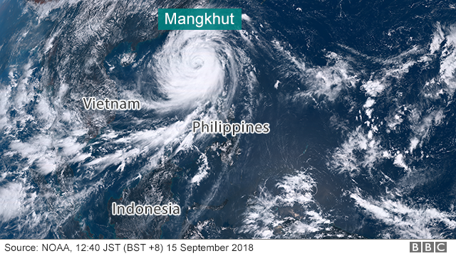 Satellite image of Typhoon Mangkhut