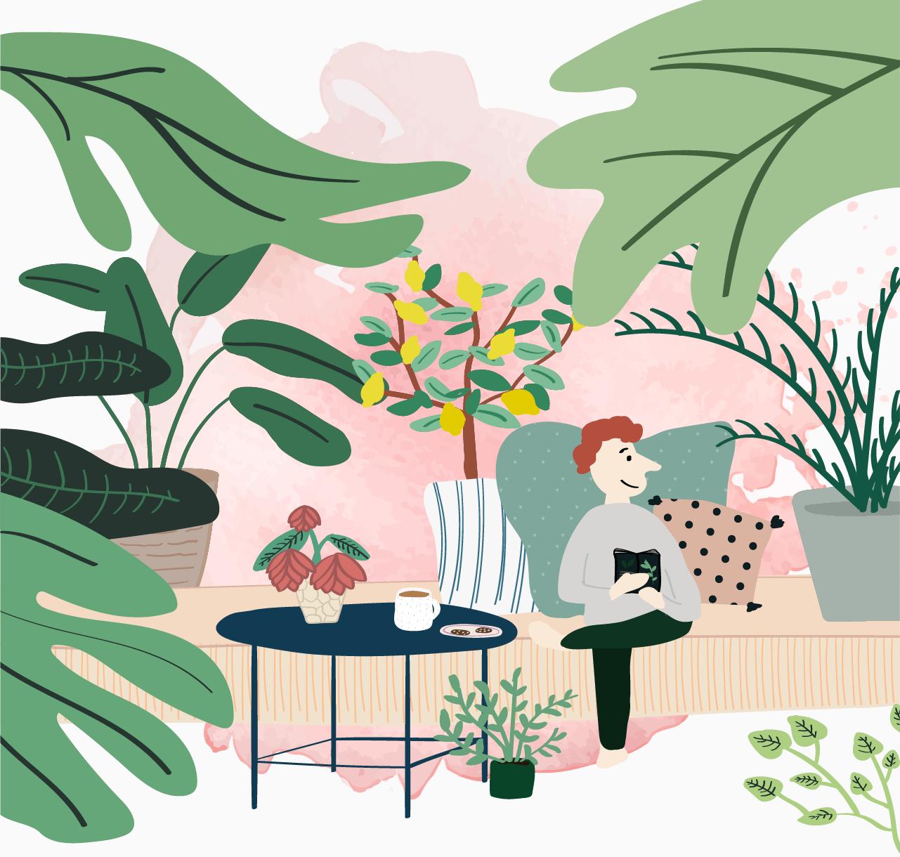 Illustration of using plants