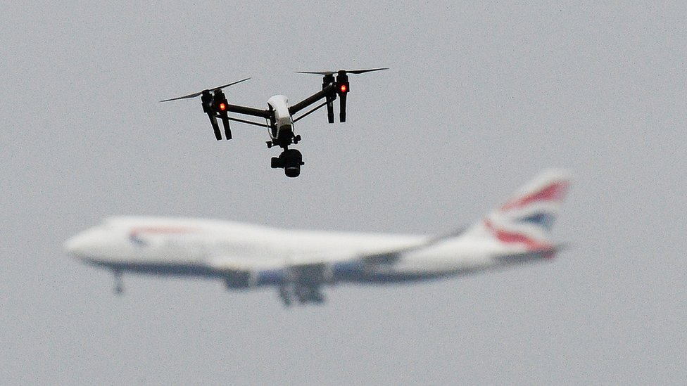 A drone and a BA plane