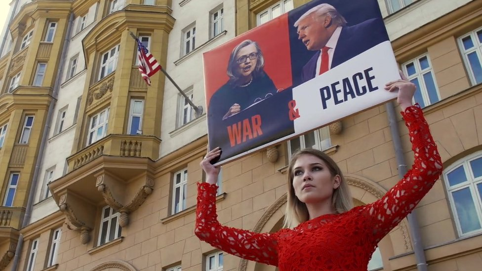 A pro-Putin activist named Maria backs Donald Trump outside the US embassy in Moscow