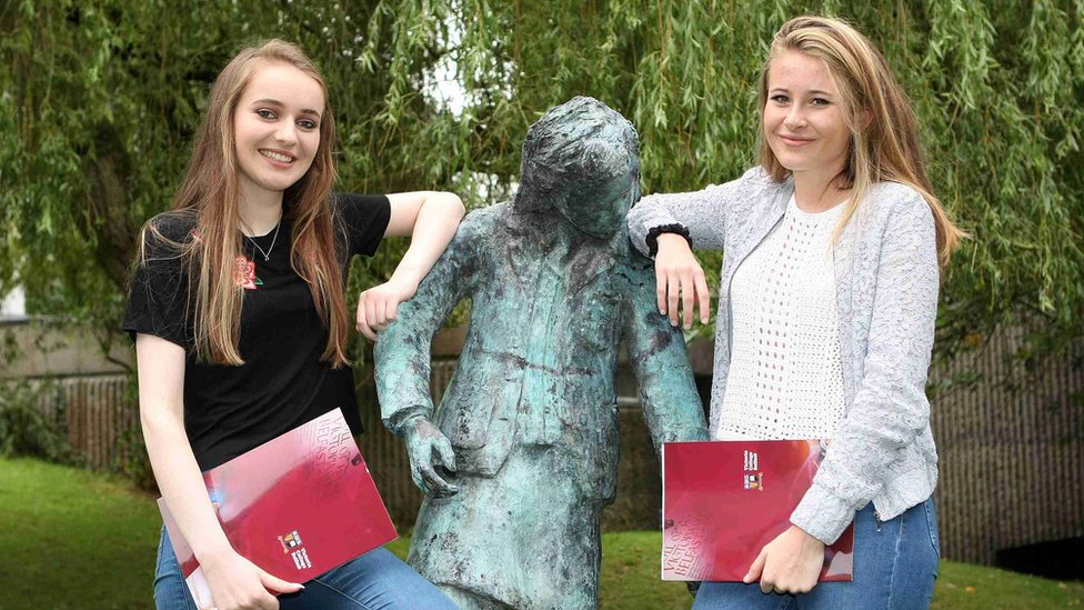 Eve Bannon and Eve Wilson picking up their results at Belfast's Victoria College