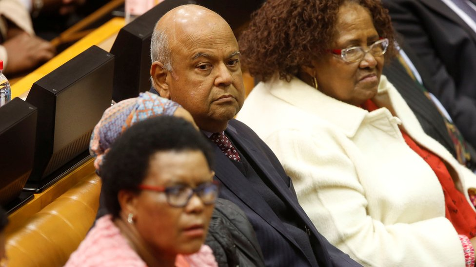Pravin Gordhan in parliament during motion of no-confidence