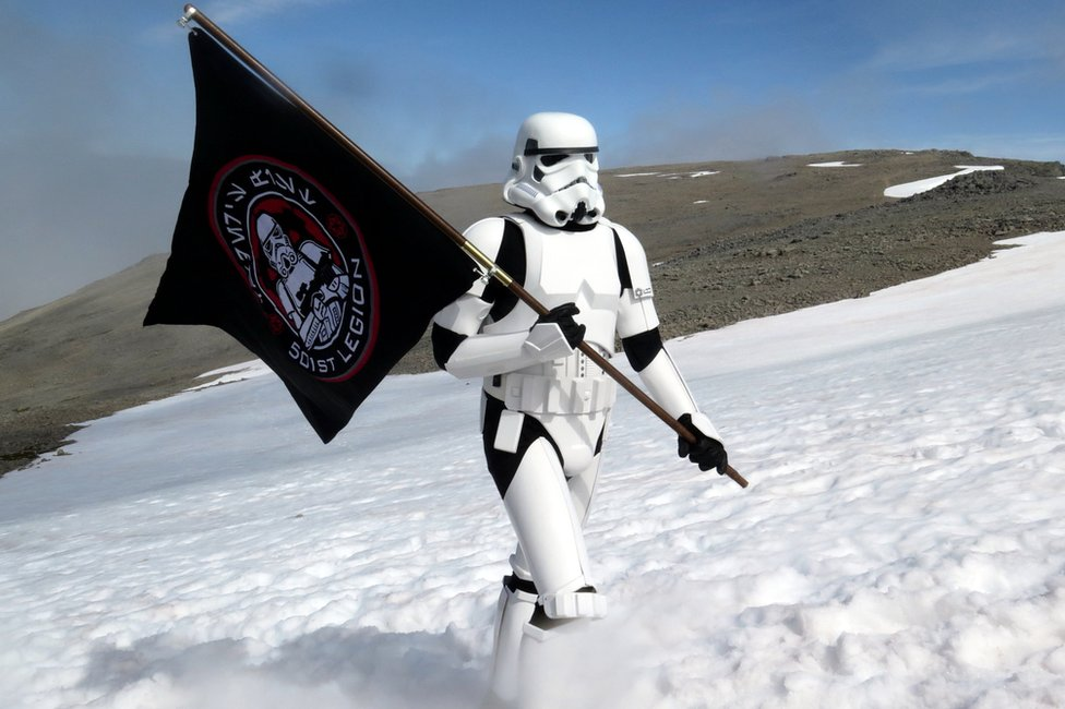 Ashley Broomhall in stormtrooper outift on Ben Nevis