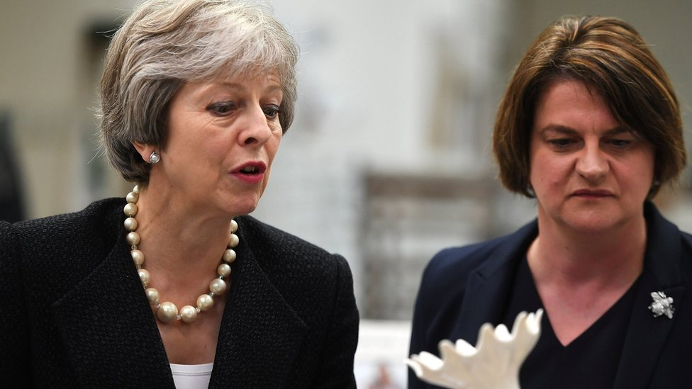 Theresa May and Arlene Foster in July 2018