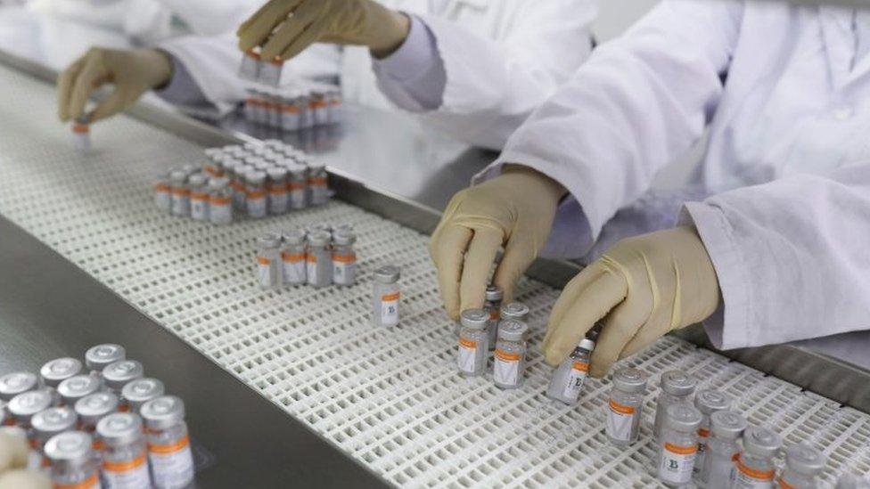 Pessoas manipulam fracos de CoronaVac em linha de produção