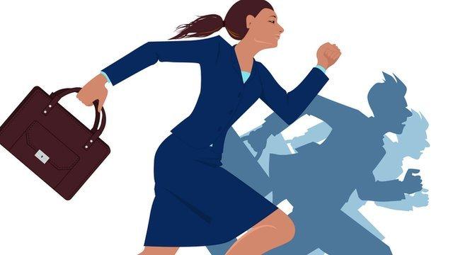 Career woman running